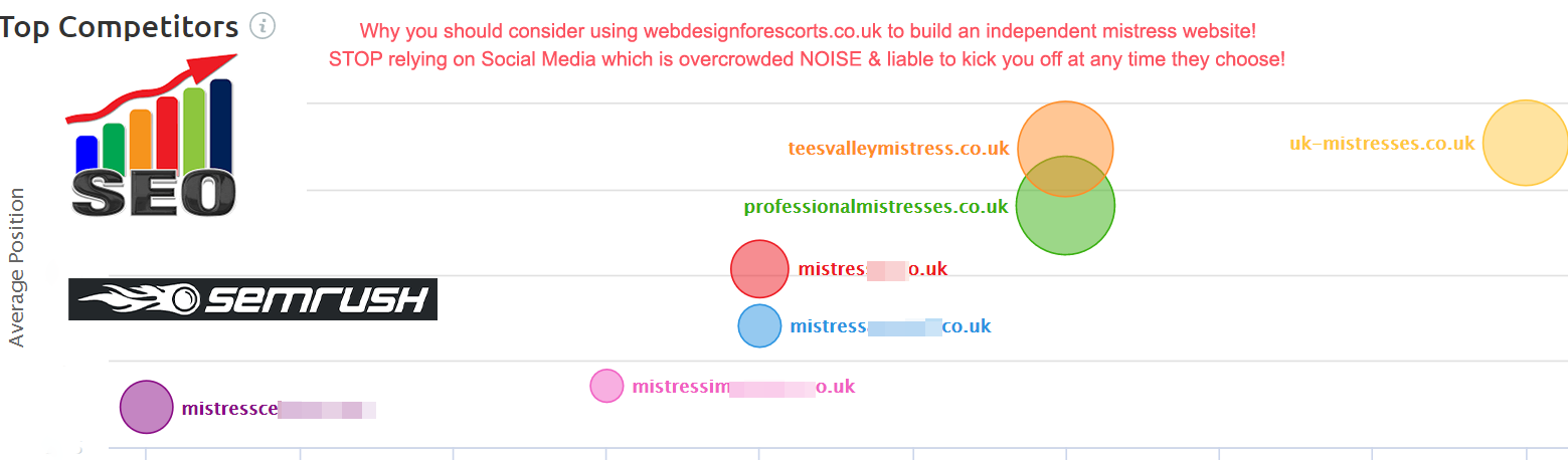 Screenshot of XXX website positioning landscape, crucial for Escort Web Design success